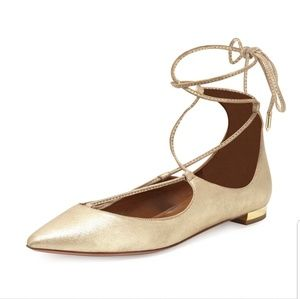 Aquazzura Christy flats gold pointy toe lace up 38